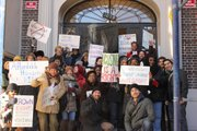 Members of Crown Heights Tenant Union gather in front of 1059 Union St. during a rally for better treatment and affordable housing from landlords.