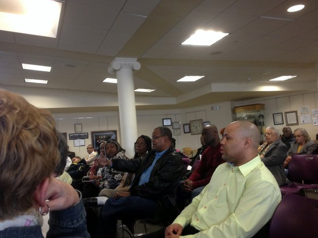 Archie Gavin asks a question during the informational session held March 15 at the Joliet Historical Museum.