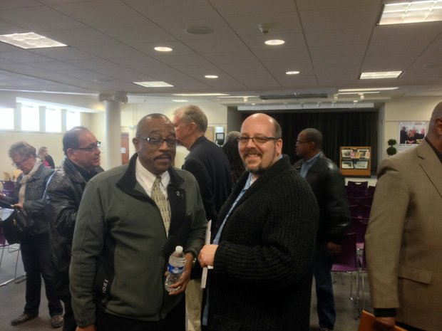 Unity CDC President Mac Willis (right) is seen here with Quinn Adamowski, an at-large director for the Cathedral Area Preservation Association.