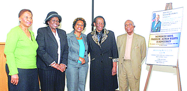 Four of the first women to vote in the Bahamas in 1962 (L to R): Beryl Edgecombe, Sylvia Bethel, Marion Bethel andEthelee Cheare with William R. Dames.