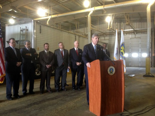 U.S. Department of Agriculture Secretary Tom Vilsack speaks at a press conference Friday at DeLong, an agriculture loading facility at CenterPoint in Joliet.