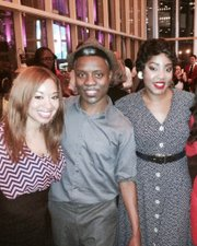 Raegan Boutte with members of the cast of The Color Purple at the Hobby Center