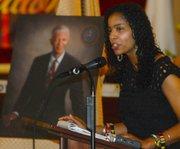 Rukia Lumumba speaks at her father's memorial