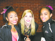U.S. Ladies Champion Gracie Gold with FSH skaters Sanaa Roper (on left) and Destiny Jean-Michel (on right)