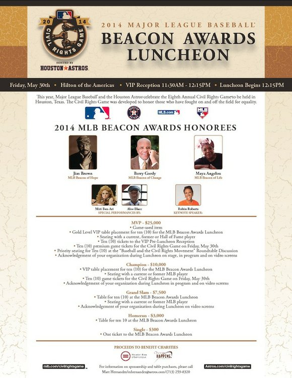 Two Houston-based charities, the Houston Area Urban League and Change Happens!, will be the beneficiaries of the MLB Beacon Awards ...
