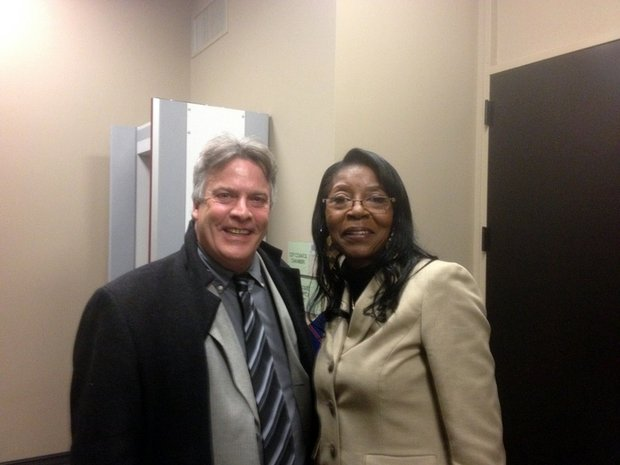 Councilman Larry Hug poses for a picture with Bettye Gavin after her appointment to the council.