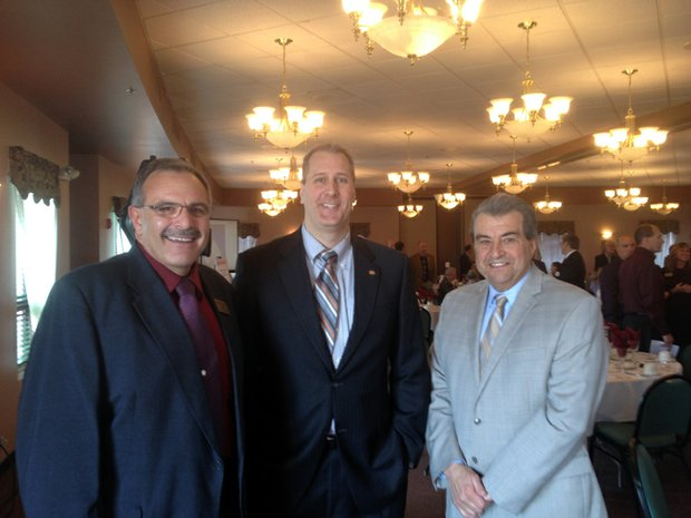 Pictured (from left) are Crest Hill Mayor Ray Soliman, Lockport City Administrator Ben Benson and Joliet Mayor Tom Giarrante.