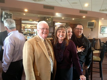 Will County Executive Larry Walsh Sr. is seen here with Darcie Gabrisko, vice president at Strand Associates, at the Lockport State of the City Address.
