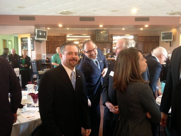 Romeoville Mayor John Noak (left) is seen here with Lockport Mayor Steve Streit. The mayor appeared very relaxed for it being his first State of the City Address.