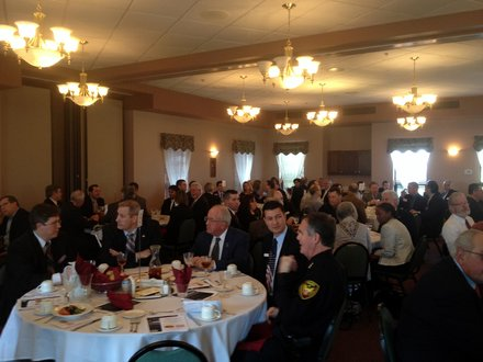 Guests get ready for lunch at Lockport Mayor Steve Streit's State of the City Address.