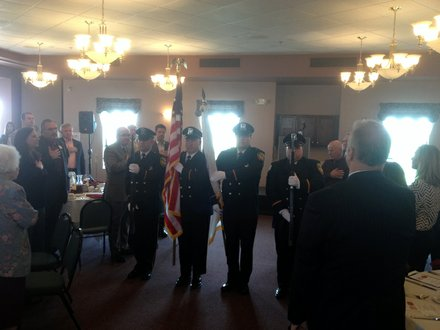 """The Lockport Police Color Guard """"presents the colors"""" before the State of the City Address luncheon."""