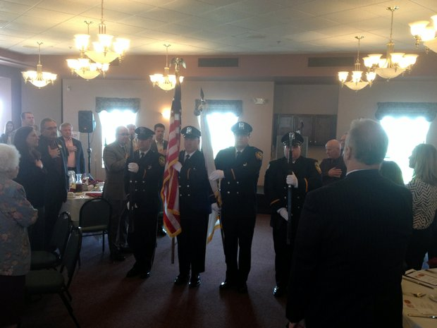 "The Lockport Police Color Guard ""presents the colors"" before the State of the City Address luncheon."