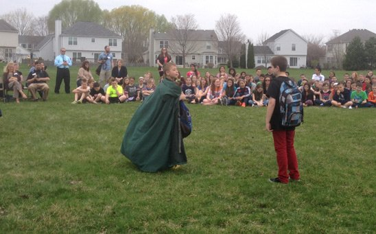 Students put on skits about saving trees, recycling and the environment as part of the Arbor Day celebration.