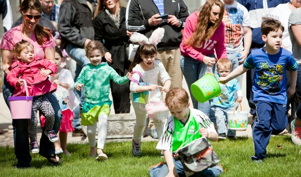 Children of all ages and their families participated in the 10th annual Hippity-Hop Easter Egg Hunt  at The Timbers of Shorewood, a rental retirement community that provides independent and assisted living housing.