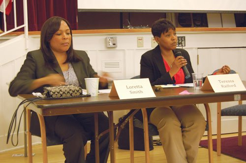Multnomah County Commissioner Loretta Smith (left) and Teressa Raiford , one of her election opponents, address housing issues during a recent candidates forum in north Portland.