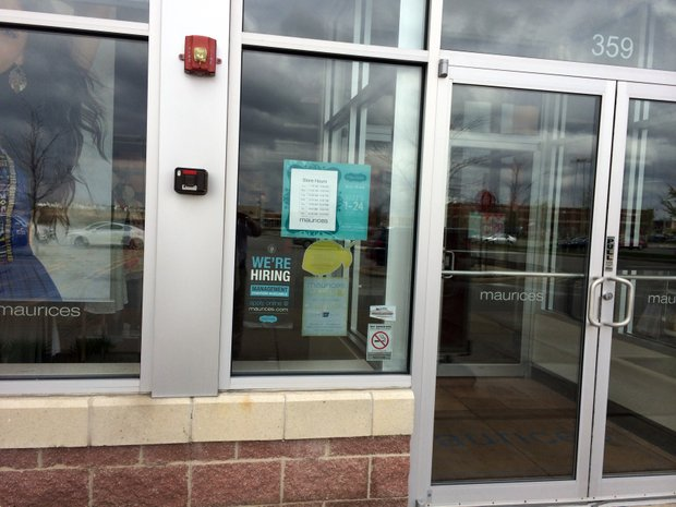 A number of area retailers, including Maurices along Weber Road in Romeoville, have posted signs in their storefront windows seeking applicants for jobs.