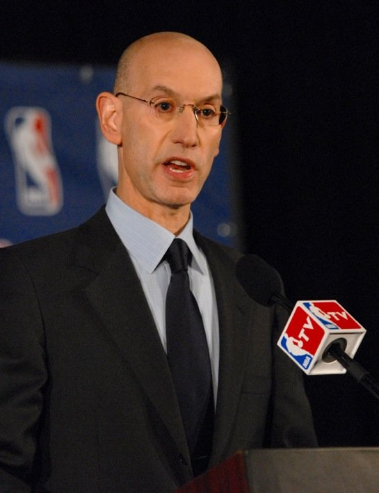 NBA Commissioner Adam Silver announcing a lifetime ban for LA Clippers owner Donald Sterling. No contact with the organization or anything that spells NBA.