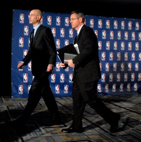 Commissioner Adam Silver and Tim Frank on their way to announce Sterling's fate.