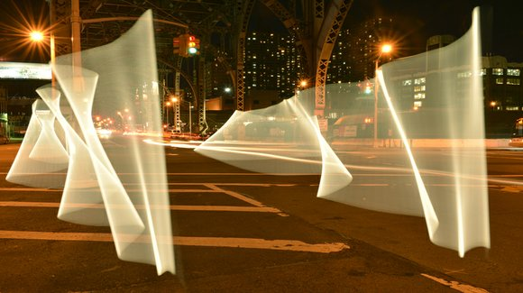 The light painting pioneer shines her light on the 12th Ave. viaduct at W. 125th St. as part of a ...