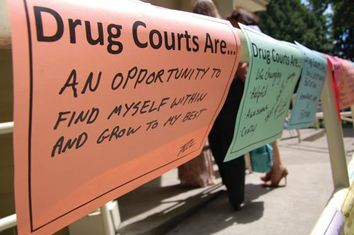 A public celebration of Clark County's seven drug courts which help people turn their lives around with special rehabilitation programs in lieu of jail time is celebrated in Vancouver.