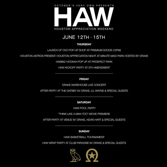 Drake announces full lineup of Houston Appreciation Weekend events from pop-up shops, pool parties, a concert, a charity basketball game ...