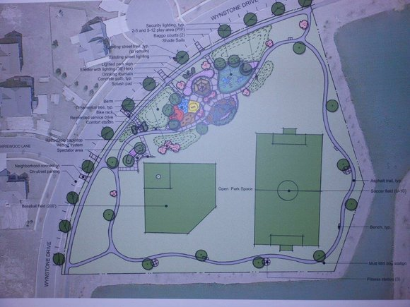 Lake Forrest Park would include a baseball diamond, soccer field, jogging trails with fitness stations, playground, picnic shelter, splash pad ...