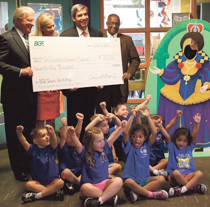 Baltimore Gas and Electric Company (BGE) presented $75,000 to the Port Discovery Children's Museum, a three-year commitment,