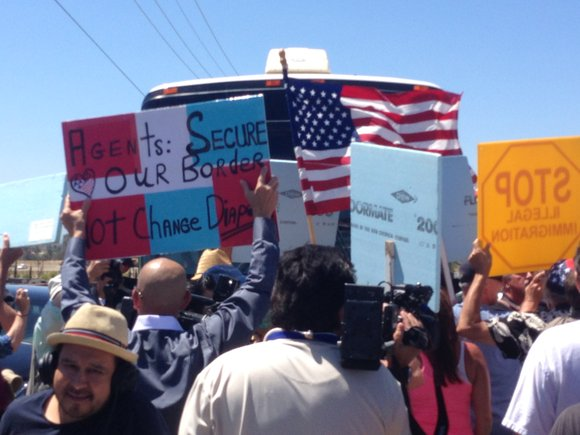 A wall of angry protesters blocked three buses of undocumented immigrants in Southern California, forcing them to turn around -- ...