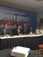 L-R: Illinois State Senator Mike Frerichs (D-52); Wayne Byron Piece, Financial Advisor, Northwestern Mutual; Brian Geiger, student, University of Illinois Chicago (UIC) and Anton Seals, Jr., Founder of Seals360Group all spoke about the student loan crisis on The Young Adult/Student Leadership Plenary: Student Loan Summit panel discussion as part of Rainbow PUSH Coalition's (RPC) 43rd Annual International Convention held June 28 through July 2at the Sheraton Chicago Hotel & Towers, 301 E. N. Waters St.