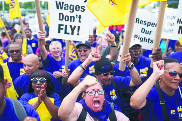 Airport workers continued to fight for their rights last week during a rally at LaGuardia Airport.