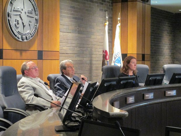 The Joliet Electoral Board, made up of At-large City Councilman Mike Turk, Mayor Tom Giarrante and City Clerk Christa Desiderio, met Monday for the first hearing in the council restructuring referendum challenge.