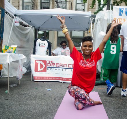 A member of the Dream Center poses for the camera. #HarlemWeek (08/17/2014)