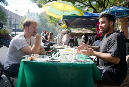 """Guy on the right: """"I dont know. I just walked up and started playing."""" #HarlemWeek (08/17/2014)"""