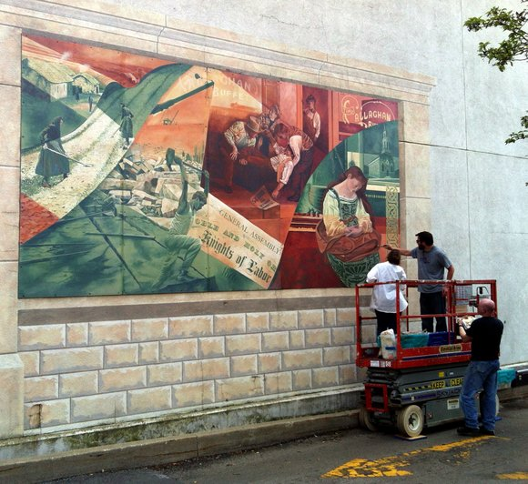 Money to repaint the water-damage murals came from the Friends of Community Public Art, which also did the work, and ...