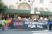 Housing, labor and religious groups joined forces calling for more affordable housing, built by labor union workers in the city. First Corinthian Baptist Church on W. 116th St.