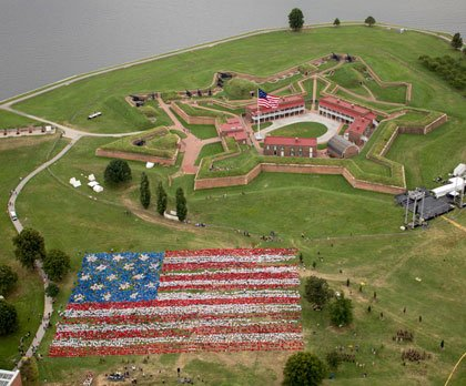 In a spectacular show of red, white and blue on Tuesday, September 9, 2014, at Fort McHenry National Monument and ...