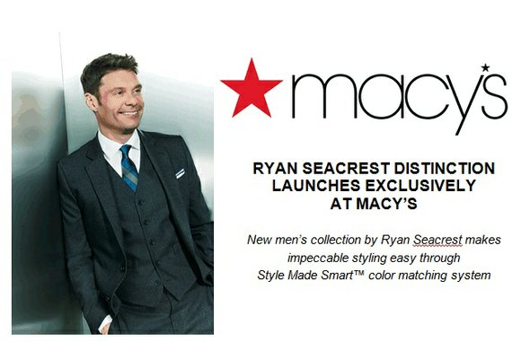 Today, Ryan Seacrest launches his new tailored men's clothing collection – Ryan Seacrest Distinction – exclusively at 150 Macy's stores ...