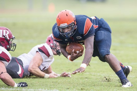 VSU's Kevon Bellamy goes in for the Trojans' lone touchdown of last week's home opener against Lenoir-Rhyne. Next up: Kentucky State.