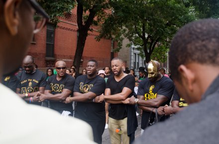 The Alpha Phi Alpha fraternity got together after the African American Day Parade. Sept 21, 2014.