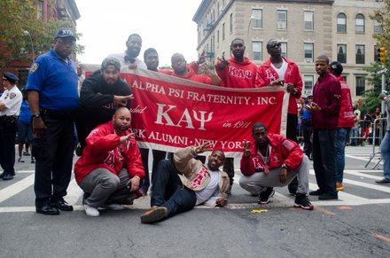 The Kappa Alpha Psi fraternity got together after the African American Day Parade. Sept 21, 2014.