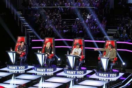 """Welcome to """"The Voice's"""" swiveling chairs, Gwen Stefani and Pharrell Williams."""
