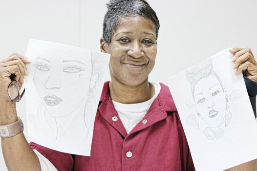 Patricia Hicks and her sketches