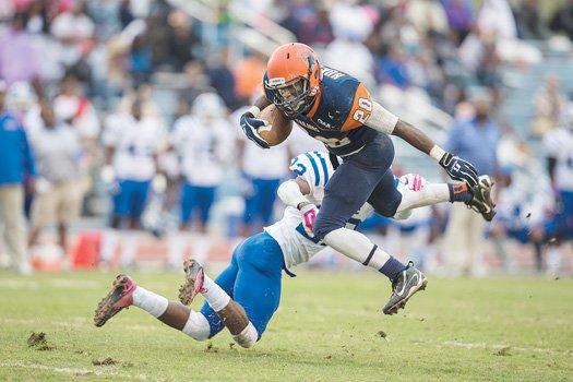 VSU freshman Earl Hughes, from Chesterfield's L.C. Bird High School, goes in for a touchdown against Elizabeth City State University.
