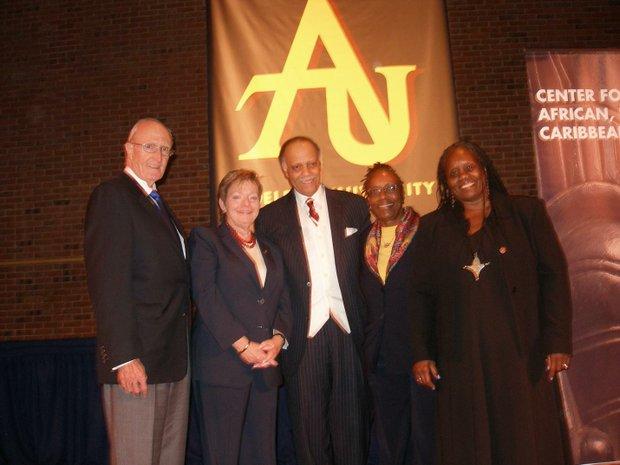 Robert A. Scott, president of Adelphi University; University Provost Gayle D. Insler; Dr. Haki Madhubuti; Dr. Marsha J. Tyson Darling and Fabian G. Burrell, programs coordinator