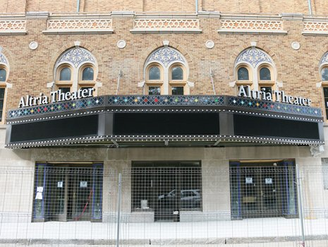 Passers-by will now find it easier to know who's performing at the Altria Theater.  An eye-catching marquee on the Main Street side was completed last week. It joins a large picturesque marquee, pictured here, on the front of the building on Laurel Street that was unveiled last February. The theater has undergone a $60 million renovation. Its 87th anniversary is Tuesday, Oct. 28.