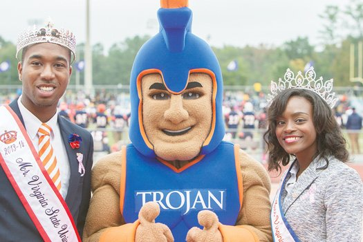 The Virginia State University 2013-14 Homecoming King Maso Cotton and Queen Deja Gibson.