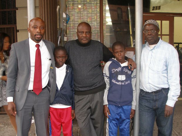 Left to right are attorney Charles Cooper, president of the African Advisory Council of the Bronx, Amadou Drame, Ousmane Drame, Pape Drame and Abdoulaye Thiam