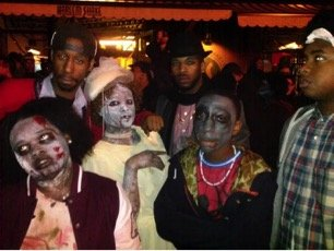 "On Halloween night a ""Thriller"" flash-mob was held in front of the Harlem Shake restaurant on Lenox Avenue. Participants of ..."