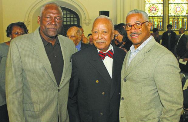 Assemblyman Keith Wright, Mayor David Dinkins and Felipe Luciano