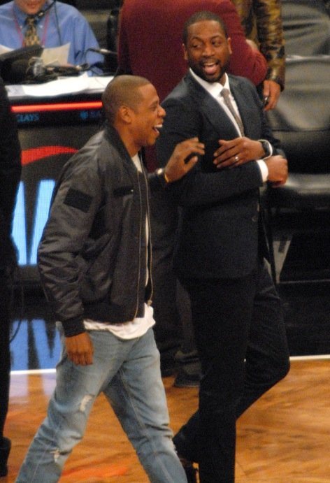 The music man Jay-Z and D-Wade up close at Barclays Center.